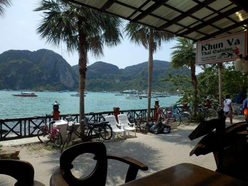 der Ausblick vom Restaurant in Richtung Pier